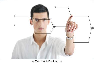 homme affaires, écran, toucher, futuriste