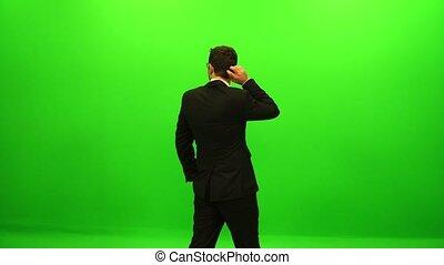 homme affaires, écran, vert, derrière
