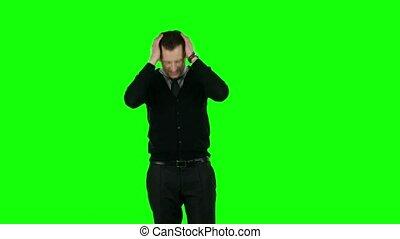 homme affaires, écran, vert, irritable