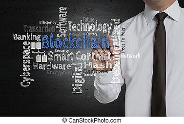 homme affaires, écrit, blockchain, écran, nuage