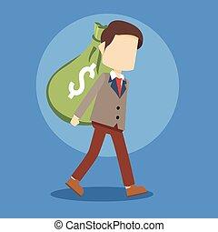homme affaires, énorme, sac portant, argent