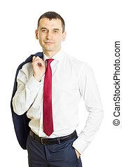homme affaires, épaule, veste, tenue, sien, sur
