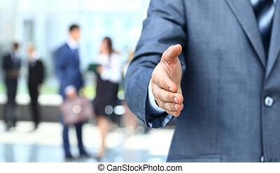 homme affaires, étendre, secousse main
