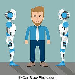 homme affaires 2, dessin animé, robots