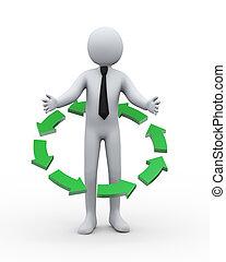 homme affaires, 3d, autour de, flèche, circulaire