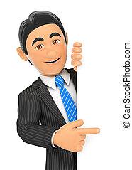 homme affaires, 3d, côté, pointage doigt