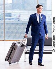 homme affaires, aéroport, avion, business, cla, attente, ...