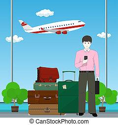 homme affaires, aéroport, européen