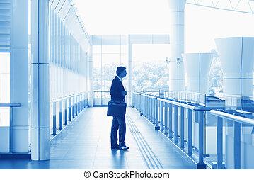 homme affaires, aéroport, indien