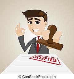 homme affaires, accepté, dessin animé, document