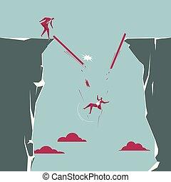 homme affaires, accidentally, fermé, cliff., isolé, abattre, bleu, arrière-plan.