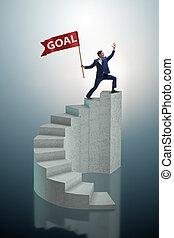 homme affaires, accomplir, sien, business, but, objectif