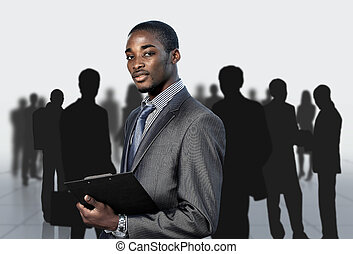 homme affaires, Afro-américain, sien, équipe