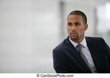 homme affaires, afro, jeune, portrait