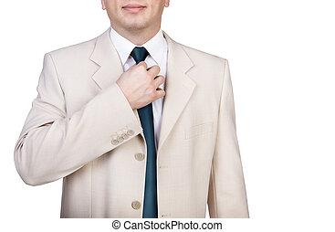 homme affaires, ajustement, sien, cravate