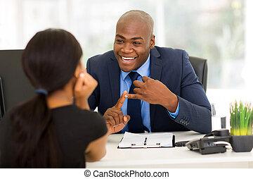 homme affaires, américain, client, réunion, africaine