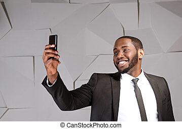 homme affaires, américain, concept, afro