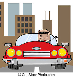 homme affaires, américain, conduite, voiture
