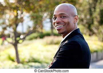 homme affaires, américain, mi adulte, africaine