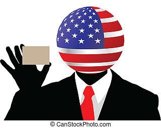 homme affaires, américain