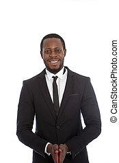 homme affaires, amical, africaine