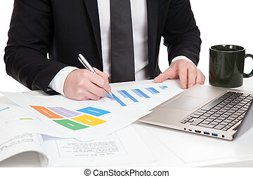 homme affaires, analyser, données