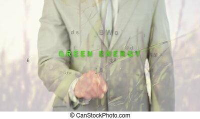 homme affaires, animation, mots, énergie, vert, sur