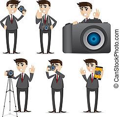homme affaires, appareil photo, dessin animé, dslr
