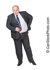homme affaires, appareil photo, graisse, glowering