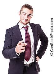 homme affaires, appareil photo, pointage