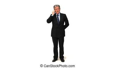 homme affaires, appeler, confection, téléphone