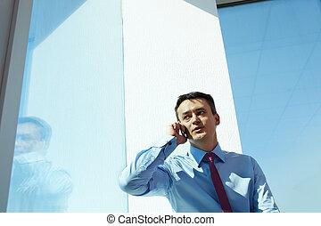 homme affaires, appeler