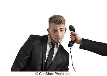homme affaires, appeler, surpris
