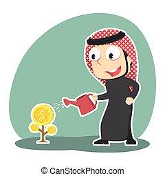 homme affaires, arabe, arbre, arrosage, monnaie