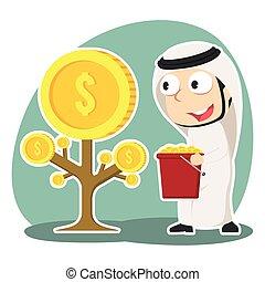 homme affaires, arabe, arbre, monnaie, récolte