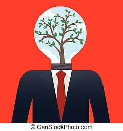 homme affaires, arbre, ampoule