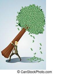 homme affaires, arbre, levage, argent