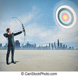 homme affaires, arc flèche