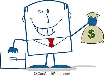 homme affaires, argent, tenant sac