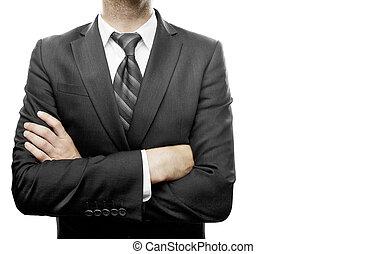 homme affaires, armes traversés
