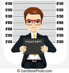 homme affaires, arrêté, mugshot