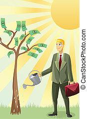 homme affaires, arrosage, arbre, argent