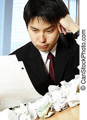 homme affaires, asiatique, accentué