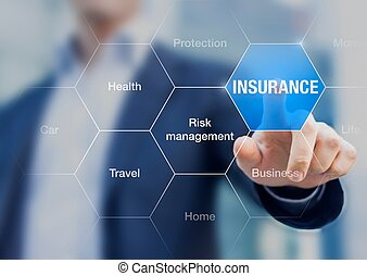 homme affaires, assurance, concept, présentation