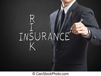 homme affaires, assurance, risque, écriture