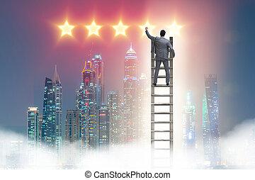 homme affaires, atteindre, étoiles, dehors
