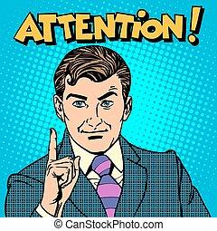 homme affaires, attention, doigt indique