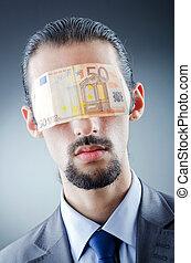 homme affaires, aveuglé, argent