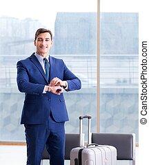 homme affaires, avion, attente, sien, aéroport, business, ...