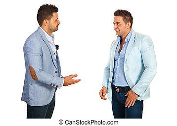 homme affaires, avoir, conversation
